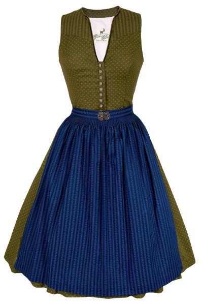 Midi Dirndl Vera aus Baumwolle in moos und blau
