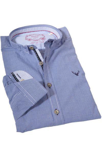 Trachtenhemd von pure in Vichykaro blau