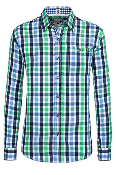Trachtenhemd grün blau weiß sportlich Herren 1