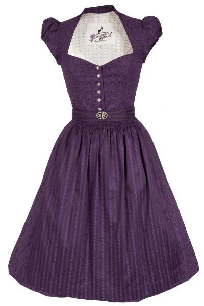 Mini Dirndl Emilia traditionell in aubergine mit Ärmeln