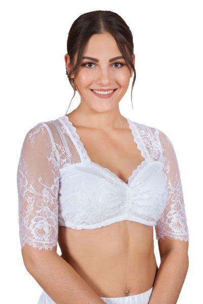 Dirndlbluse Luisa-Kosira in weiß aus Spitze