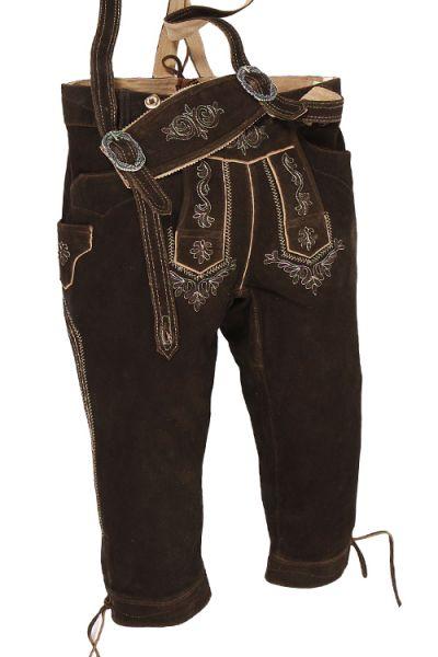 Kniebund Lederhose Martin in braun mit Träger