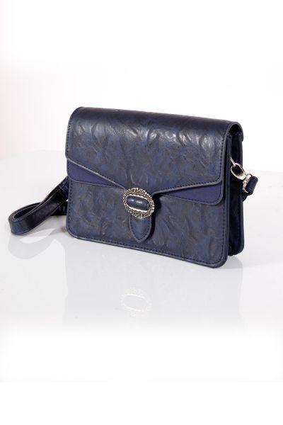 Trachtentasche in dunkelblau mit Riemen