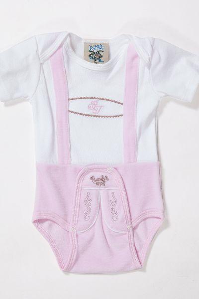 Trachten Baby Body in weiß rosa kurzärmelig vorn
