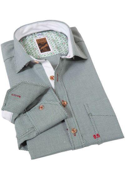 Trachtenhemd modern mit Muster in tanne