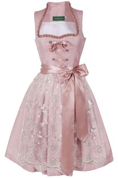 Mini Dirndl in rosa mit Glitzerschürze und Stehkragen