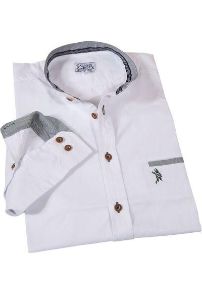 Trachtenhemd mit Stehkragen mit tannengrünen Details