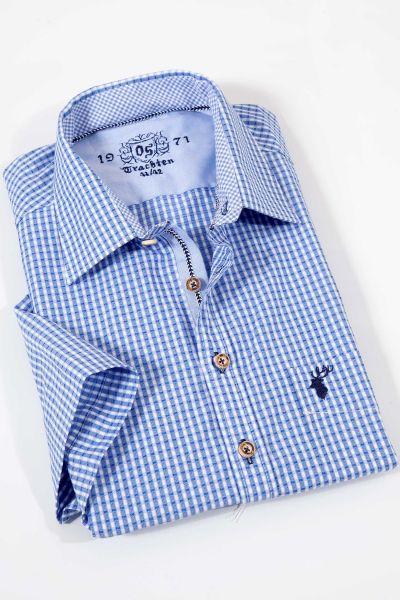 Trachtenhemd modern in blau mit kurzen Armen