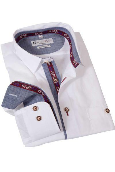 Trachtenhemd Rießensee in weiß mit blauem Detail
