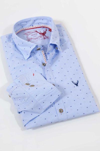 Trachtenhemd in hellblauem Vichykaro von pure