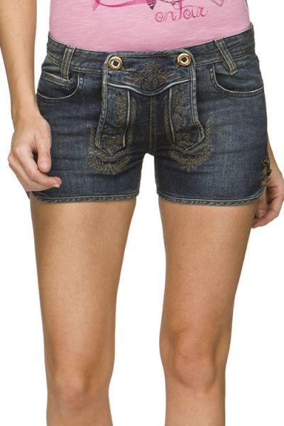 Trachtenjeans Gigi aus blauem Jeans indigo sehr kurz