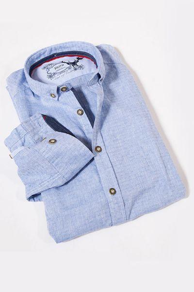 Trachtenhemd in blau mit Struktur Muster von Pure