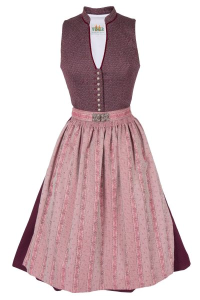 Midi Dirndl Paulette in bordeaux und rosa