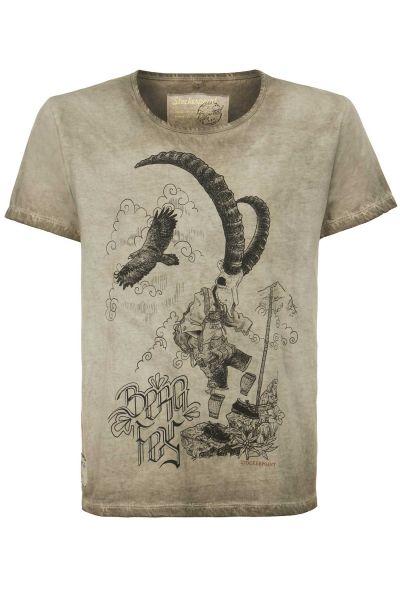 Trachten Shirt für Herren Bergfex in sand
