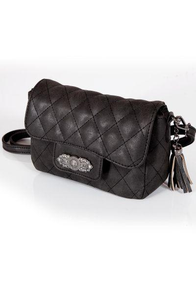 Trachtentasche gesteppt in schwarz mit Silberornament