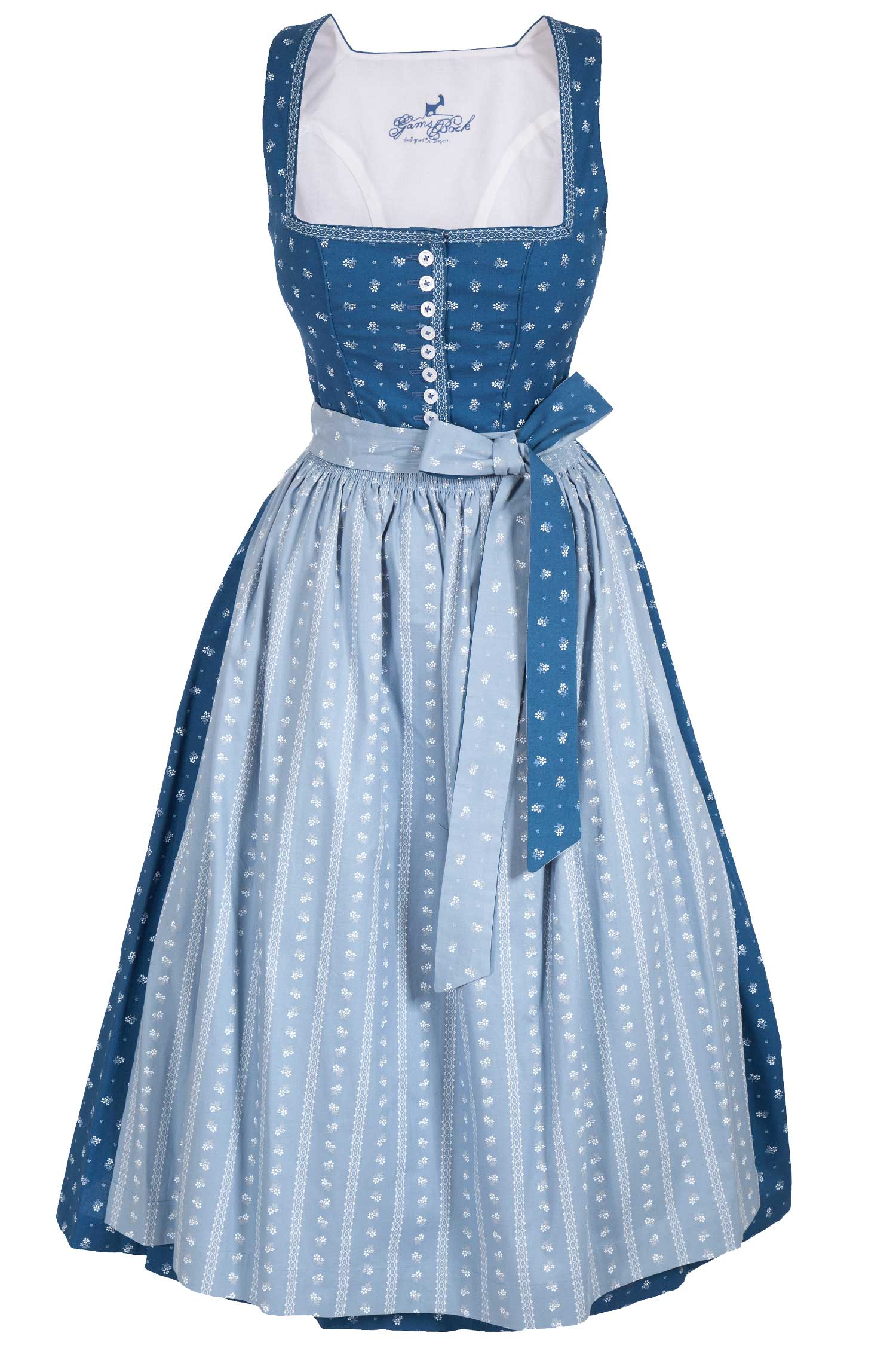 Langes Dirndl Nadia In Blau Traditionelles Baumwolldirndl