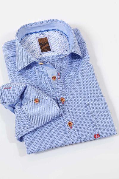 Trachtenhemd in leuchtblau mit Muster