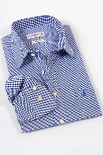 Slimfit Trachtenhemd in kleinen blauen Karos