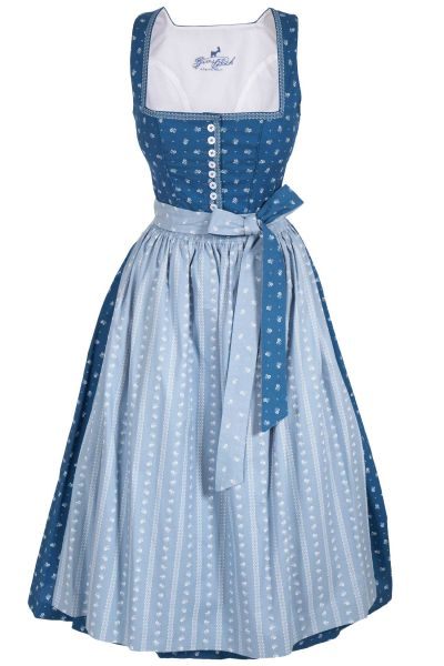Langes Dirndl Nadia in blau, traditionelles Baumwolldirndl