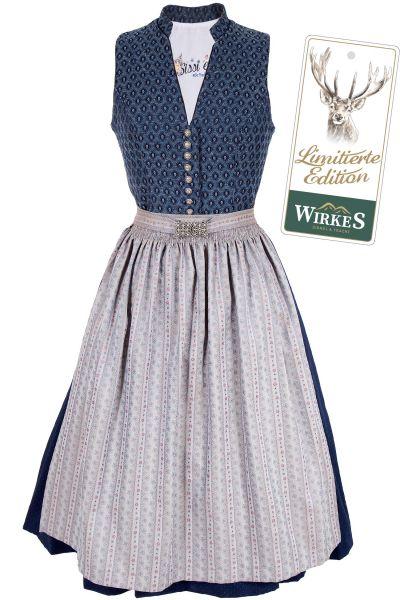 Midi Dirndl Regina in blau und silber Vintage Limitierte Edition