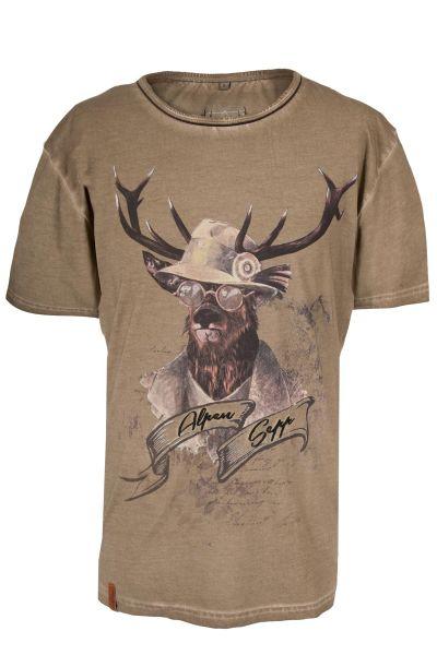 Trachten T-Shirt Benedikt in braun für Herren