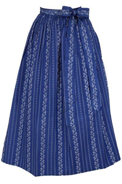 Dirndlschürze lang in blau aus Baumwolle 95 cm