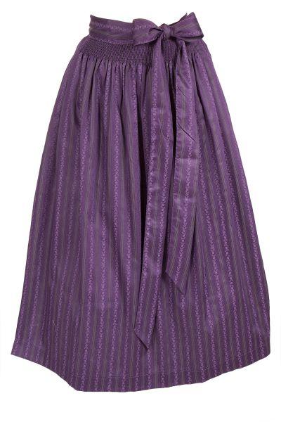 Dirndlschürze in violett mit Rosenranken 70 cm