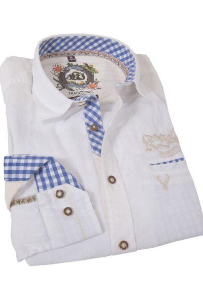 Trachtenhemd von KRÜGER aus feinem Leinen in weiß