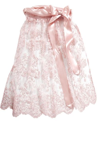Dirndlschürze aus Spitze in rosa mit Schleife 60 cm
