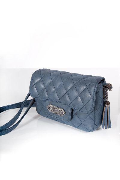 Trachtentasche gesteppt in dunkelblau mit Silberornament
