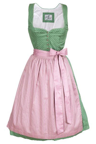 Dirndl Karin in grün und rosa aus Baumwolle