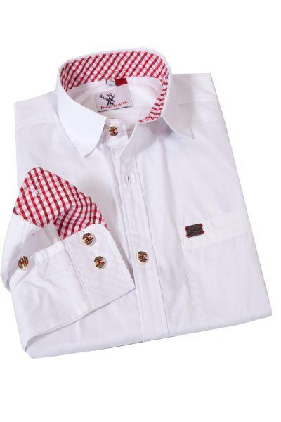 Herren Trachtenhemd Kessen in weiß mit rot