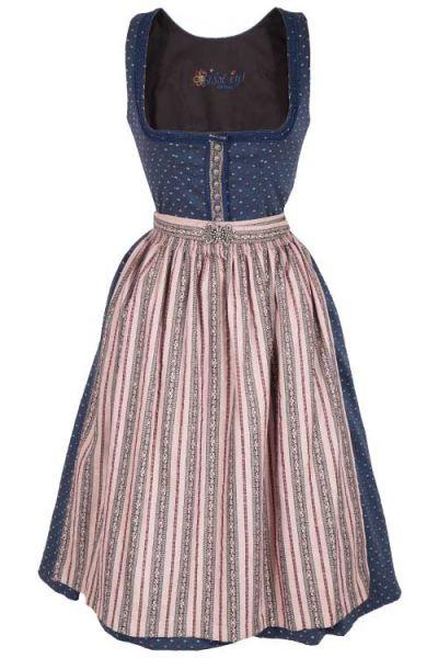 2ac363048b7acb Midi Dirndl Polly aus Stretch in blau und rosa | Wirkes