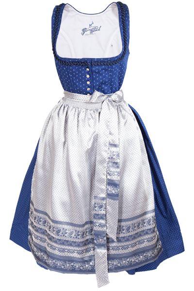 Midi Dirndl Kerstin in blau mit weißen Blumen und Knöpfen
