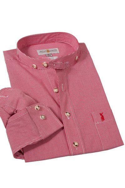 Trachtenhemd mit Stehkragen von Almsach in rot weiß
