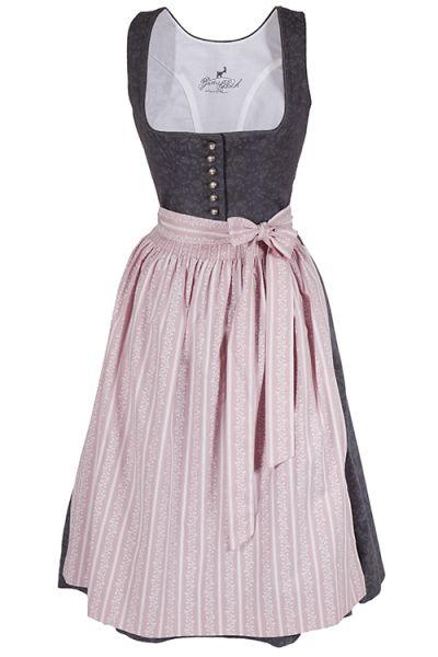 Midi Dirndl Flora aus Baumwolle in grau und rosa