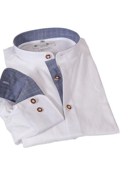 Trachtenhemd Achensee in weiß mit Stehkragen