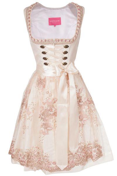 Brautdirndl in creme und rosé mit Spitzenschürze