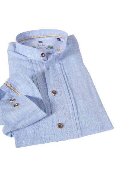 Trachtenhemd aus Leinen in hellblau zum Schlupfen