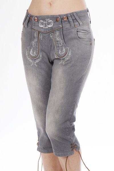 Trachten Jeans kniebund in grau für Damen
