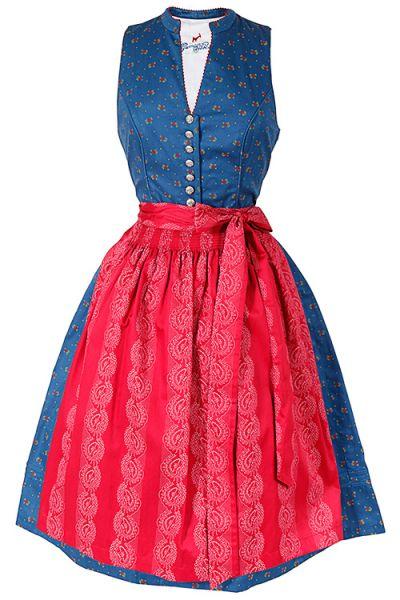 Traditionelles Midi Dirndl in blau mit roten Rosen und Stehkragen