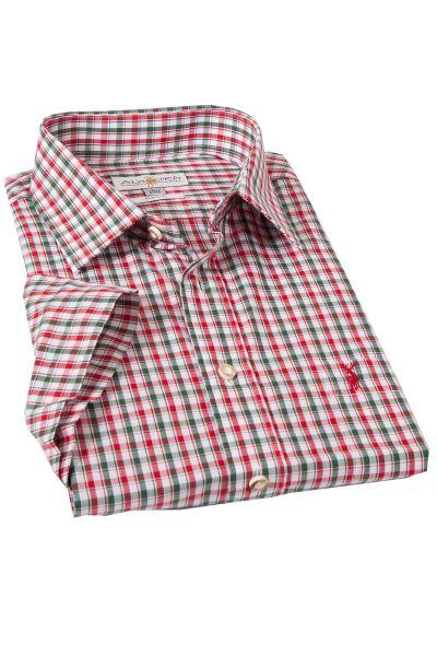 Trachtenhemd rot grün kariert mit kurzen Armen