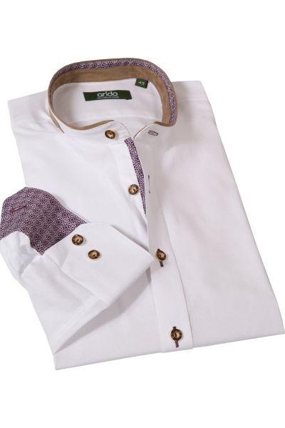 Trachtenhemd in weiß mit Velourdetails