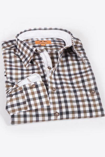 Trachtenhemd karo schoko braun weiß schwarz  1