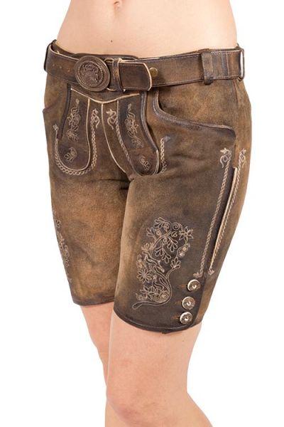 Lederhose kurz für Damen mit Gürtel in braun used