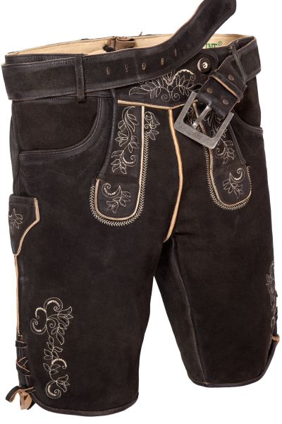 Kurze Lederhose in schwarzbraun mit Gürtel