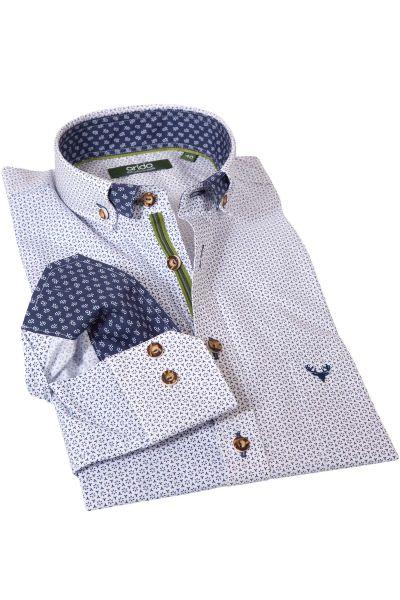 Trachtenhemd in Retro Muster blau von arido