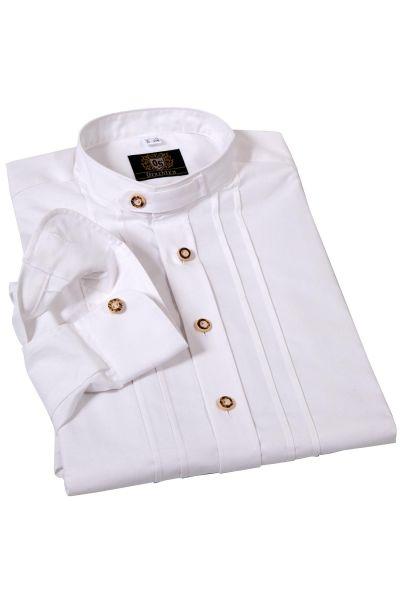 Trachtenhemd in weiß mit Biesen klassisch