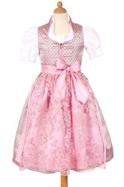 Kinderdirndl Nicole in rosa mit Spitzenschürze