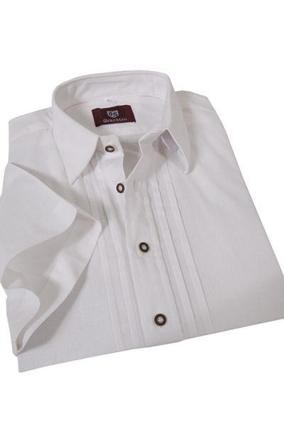 Trachtenhemd weiß kurzarm mit Biesen für Herren